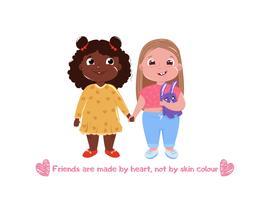 Twee kleine schattige vriendinnen. Internationale vriendschap. Vectorbeeldverhaalillustratie voor groetkaart en affiche en druk en website vector