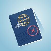 Buitenlands paspoort Twee vliegtuigtickets. Illustratie van een vlucht naar een ander land. Reisbureau. Vector platte banner