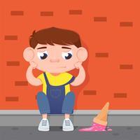 Droevige jongen die voor gevallen roomijs schreeuwt. Platte vectorillustratie