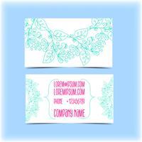 Adreskaartje met bloemenornament, monogram vector