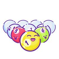 Gekleurde poolballen. Vlakke stijl met lange schaduwen. Vector cartoon
