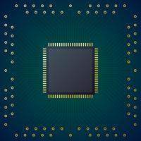 Printplaat met chip CPU-processor Vector achtergrond