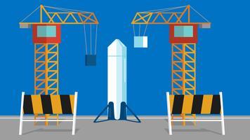 Lanceer een raket op een station. Platte vectorillustratie
