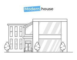 Moderne stijlvolle huizen in lijn kunst iconen. Ontwerpconcept thuis met textuurbakstenen en hout en tegels. Platte vectorillustratie vector