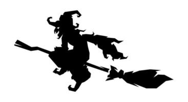 heks, heks silhouet vliegen met magische bezem vector