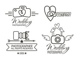 Fotografiebadges en etiketten in vintage stijl vector