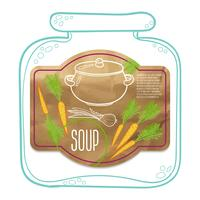 Label kraftpapier van soep. vector