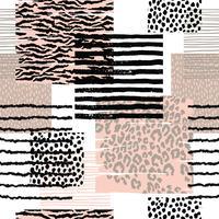 Abstract naadloos patroon met dierlijke druk. Trendy hand getrokken texturen.