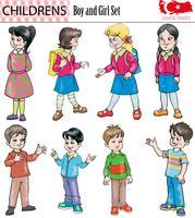 Jongen en meisjeskarakterset, vector, eps