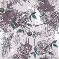 Eclectisch bloemen naadloos patroon met nevelverf. vector