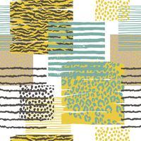 Abstract naadloos patroon met dierlijke druk. Trendy hand getrokken texturen