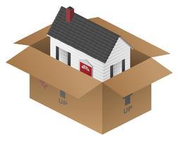 Onroerend goed bewegende huis verpakking vak vectorillustratie vector