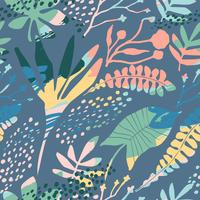 Abstract floral naadloze patroon met trendy hand getrokken texturen. vector