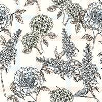 Bloemen naadloos patroon met plaidachtergrond. vector