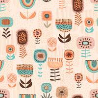 Folk bloemen naadloos patroon. Modern abstract ontwerp vector