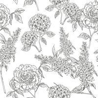 Victoriaanse tuin. Naadloze bloemmotief. Vector illustratie.