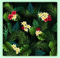 Tropische bloemen naadloze vectorpatroonachtergrond
