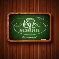 Terug naar schoolontwerp met bord en typografie het van letters voorzien