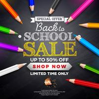 Terug naar school verkoop ontwerp met letters op zwarte schoolbord achtergrond vector
