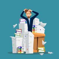 Zakenman staat onder de stapel van office-documenten. Vector illustratie.
