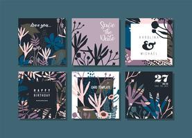 Set van abstracte creatieve kaarten. vector