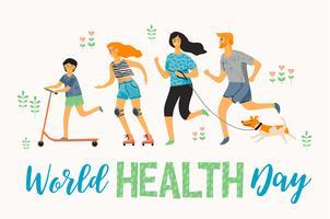 Wereldgezondheidsdag. Gezonde levensstijl. Sport familie. vector