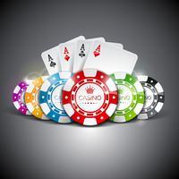 Speelkaart Azen achter verschillende gekleurde pokerchips vector
