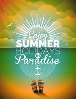 Vectorillustratie op een thema van de zomervakantie op zeegezichtachtergrond.