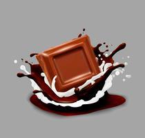 Chocolade in splash. Vector illustratie.