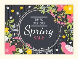Lente verkoop achtergrond met prachtige kleurrijke bloem vector