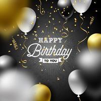 Gelukkige verjaardag Vector ontwerp met ballonnen