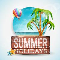 Vector zomervakantie typografische illustratie op vintage houten achtergrond.