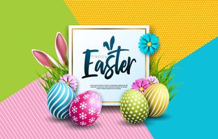 Vector illustratie van Happy Easter Holiday met beschilderde eieren