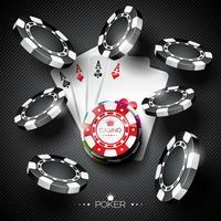 Vectorillustratie op een casinothema met kleuren speelspaanders en pookkaarten