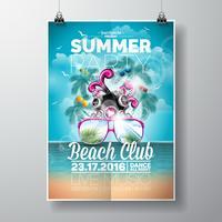 Vector zomer Beach Party Flyer Design met typografische en muziek elementen