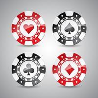 Vectorillustratie op een casinothema met het spelen van geplaatste spaanders.