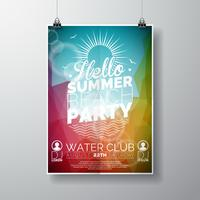 Vector partij flyer poster sjabloon op zomer strand thema