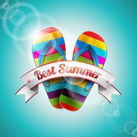 Vector zomer vakantie ontwerp met slipper en lint op blauwe zee achtergrond.