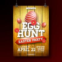 Vector Easter Egg Hunt Party Flyer Illustratie met geschilderde eieren en bloemen