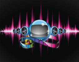 Illustratie op een media en filmthema met futuristische tv. vector