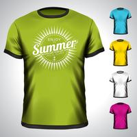 Vectort-shirt met de illustratie van de de zomervakantie wordt geplaatst.