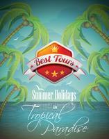 Vector zomer vakantie Flyer ontwerpen met palmbomen en beste tour Banner op zee achtergrond.