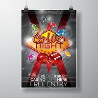 Vector partij flyer ontwerp op een casino thema met chips en dobbelstenen