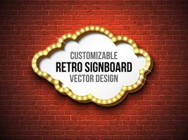 Retro uithangbord of lightbox illustratie op bakstenen muurachtergrond vector