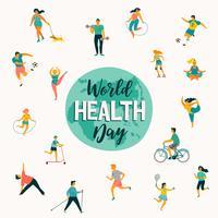 Wereldgezondheidsdag. Vectorillustratie van mensen die een actieve gezonde levensstijl leiden.
