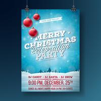Merry Christmas Party Flyer Illustratie vector