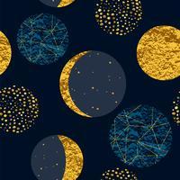 Abstract kosmisch naadloos patroon. Trendy hand getrokken textuur, glitter en geometrische elementen.