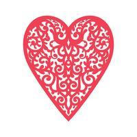 Sjabloon hart met bloemen voor lasersnijden, spaanplaat scrapbooking.