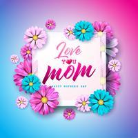 """Moederdag wenskaart met bloem en """"Love You Mom"""" vector"""