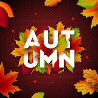 """""""Herfst"""" illustratie met vallende bladeren vector"""